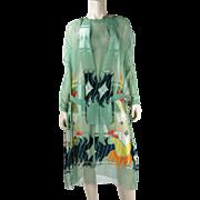 1920's Vintage Boldly Printed Silk Chiffon Damask Art Deco Dress In Larger Size