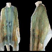 Gossamer 1920's Silk Chiffon Shawl With Paisley Print