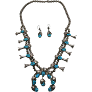 Vintage Navajo Squash Blossom Necklace With Naja Dangle And Matching Earrings