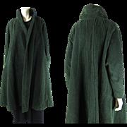 Rare 1940's Vintage Alex Maguy Paris Pine Green Mohair Dolman Sleeve Coat