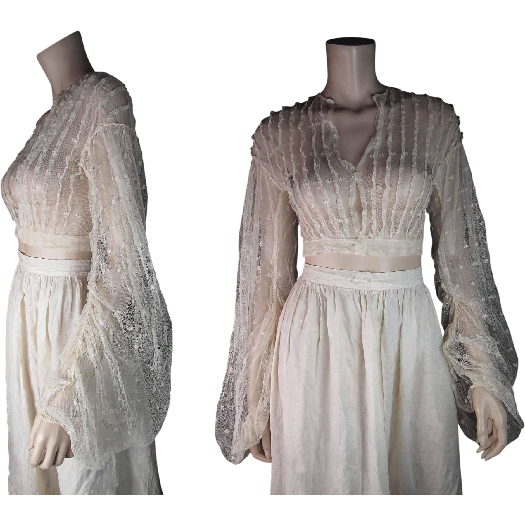 Scarce Antique 1860's Victorian Sheer Lace Overbodice With Dramatic Sleeves