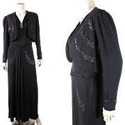 Chic 1930's Beaded And Sequined Black Crepe Sleeveless Evening Dress With Cropped Jacket
