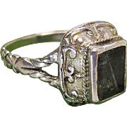 Antique Georgian Gold Washed Silver Ring With Rectangular  Beryl / Heliodor
