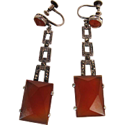 Art Deco Period 2 1/8-Inch Long German Sterling Silver Marcasite And Carnelian Earrings