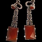 Art Deco Period 2 1/8-Inch Long German Sterling Silver Marcasite And Carnelian Earrings