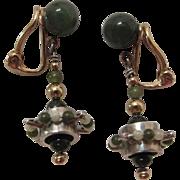 Whimsical Vintage 14K Gold, Sterling Silver And Jade Modernist Clip Earrings