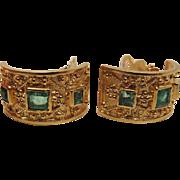Vibrant Vintage 18K Yellow Gold Columbian Emerald Post Earrings