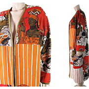 Distinctive 1980's Vintage Molato Graphic Figural African Print Coat