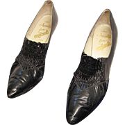 1950's Vintage Italian Black Leather Kitten Heel Pumps