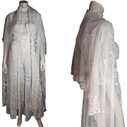 Antique Victorian Nine Foot Long Creamy White Applique Lace Shawl