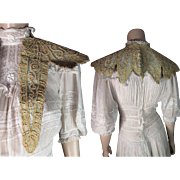 Lovely Antique Victorian Lace And Blue Silk Bertha / Collar