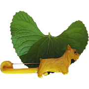 Charming 1930's Vintage 4 1/2-Inch Yellow Carved Bakelite Scotty Dog Brooch