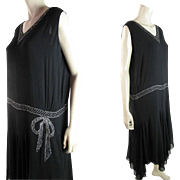 1920's Rhinestone Encrusted Black Silk And Silk Chiffon Drop Waist Dress In Larger Size