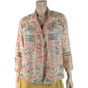 Early 20th Century Jacket Made From Exceptional Figurally Embroidered Chinese Canton Shawl
