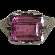 Art Deco Era 14K White Gold Fine Pink Rubellite Tourmaline Mens / Unisex Ring Size 10