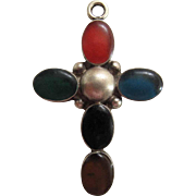 Vintage Sterling Silver Cross With Multi-Colored Enameling