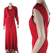 Chic 1930's Vintage Silk Crepe Evening Dress With Batwing Sleeve Jacket