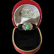 Vintage 14K White Gold Apple Green Jadeite And Diamond Unisex Ring
