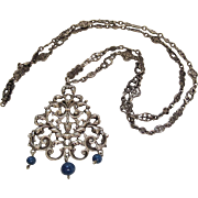 Antique Peruzzi Renaissance Revival 800 Silver Pendant Necklace With Wonderful Chain And Gemstones