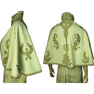 Antique 1890's Victorian Gold Metallic Embroidered White Wool Cape