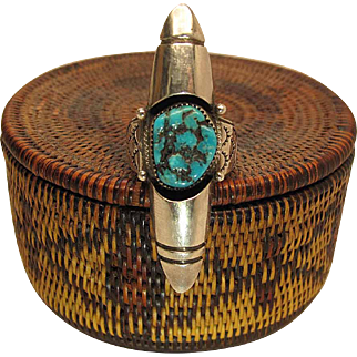Vintage Loren Begay Navajo Sterling Silver And Turquoise Shadowbox Ring