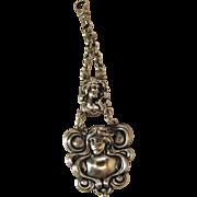 Antique Art Nouveau Figural Sterling Silver Watch Fob / Pendant
