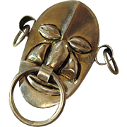 Dramatic Mexican Sterling Silver Pre-Columbian Mask Brooch / Pin