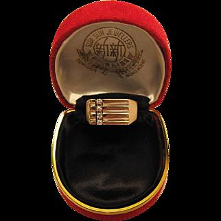 Stylish Retro Era Vintage Men's 14K Yellow Gold And Diamond Ring Size 12.25