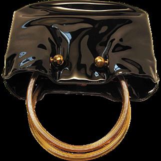 Chic 1960's Vintage Morris Moskowitz Molded Black Patent Leather Handbag / Purse