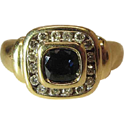 Vintage 14K Yellow Gold Cushion Cut Natural Sapphire And Diamond Halo Ring