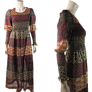 Gauzy 1970's Vintage Printed Cotton Dress With Smocked Bodice And Juliet Sleeves
