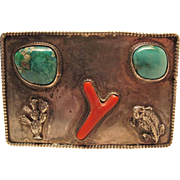 Vintage Navajo Sterling Silver Turquoise And Coral Buckle With Figural Ornaments
