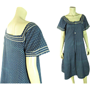 Pretty And Very Wearable Antique Edwardian Blue Calico Pinafore Dress