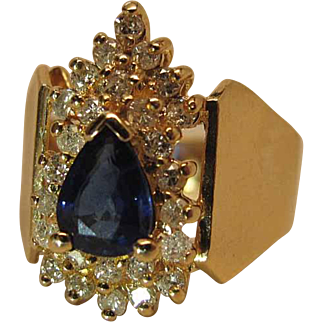 Vintage 14K Yellow Gold Natural Pear Sapphire And Diamond Cocktail Ring