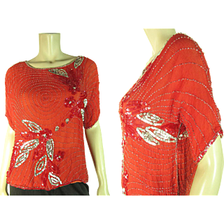 Jazzy 1920's Vintage Beaded And Sequined Silk Chiffon Top / Blouse