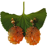 Lovely Vintage 14K Yellow Gold Carved Carnelian Dangle Post Earrings