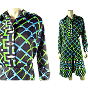 1970's Lanvin Graphic Two Piece Dress Size 16
