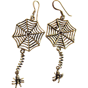 Whimsical Vintage Sterling Silver Web Earrings With Dangling Spiders