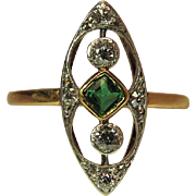 Antique Edwardian 14K Gold Platinum Emerald And Diamond Ring