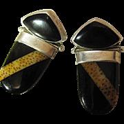 Vintage Darla Nordstrom Leopard Agate And Black Onyx Earrings