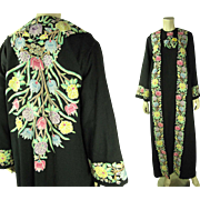 Sumptuous 1970's Vintage Tambour Embroidered Pashmina Dress