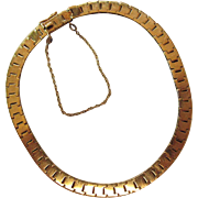 Vintage 14K Yellow Gold 5-mm Wide Book Chain Bracelet