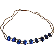 Antique Edwardian Foiled Sapphire Blue Paste And Cut Steel Bead Choker Necklace