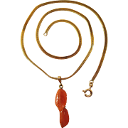 Vintage 14K Yellow Gold Foxtail Chain Necklace With Carved Coral Pendant