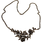 Grand 20-Inch Edwardian Carved Silver Onyx And Marcasite Necklace With Mesh Chain