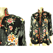 1930's Vintage Embroidered Chinese Silk Jacket With Chinese Character Label