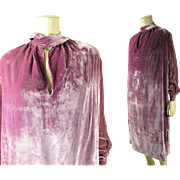 Luscious 1920's Vintage Lavender Silk Velvet Dress In Larger Size