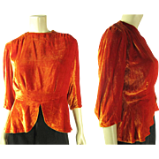 1930's Vintage Orange Silk Velvet Top / Blouse