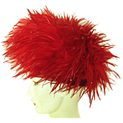 Iconic Vintage Jack McConnell Red Feather Covered Hat With Feathered Label
