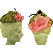 1940's Vintage Hattie Carnegie Decorated Green Straw Pixie Hat